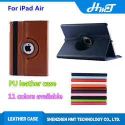 hot sale leather 360 degree rotating stand case for iPad Air with sleep and wakeup with stand case