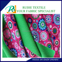 four way spandex pongee fabric bonded with TPU and polar fleece 3 layer fabric