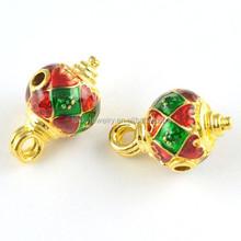 Fashion Charm Gold Brass Round Enamel Beads Filigree Jewelry Findings