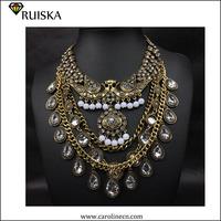 Luxury Water Drop Crystal Bid Necklace 2015 Fashion Brand Jewelry