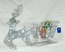 decotation of Running wire deer with sleigh and sisal giftbox and white LED lights