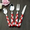 Hot selling quality 24 pieces plastic handle dinnerware set color plastic children stainless steel cutlery set
