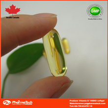 Natural/synthetic Vitamin E Softgel capsules in bottle/blister/sachet OEM package