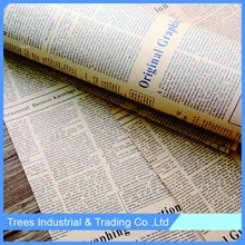 fashion brown English newspaper printing flower wrapping Paper