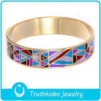 F-BA0047 Colorful Triangle Pattern Custom Rose Gold Enamel Jewelry Bangle Bangles Images