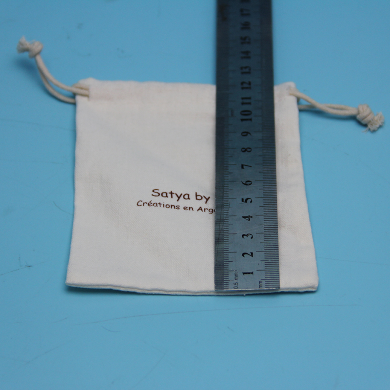 wholesale eco natural plain white cotton drawstring dust bag for handbag with customzied size