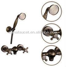 Antique Brass Cross Handle Bath Tub Faucet +Hand Shower BL1301B
