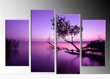 Hand Painted 4 Piece canvas sets Purple Lake Landscape Oil Painting on canvas modern home Decoration Abstract Wall Art Pictures