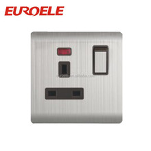 British standard stainless steel panel 13A 3 pin wall switch and socket with neon