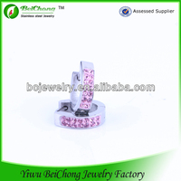 Stocking freshwater pink spike diamonds silvery earrings for young lady stainless steel earring