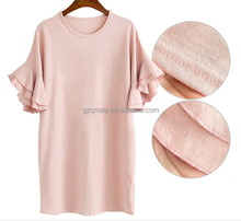 long flounced double ruffle sleeve china 2015 online slim fit women design tshirt short sleeve v neck fitted