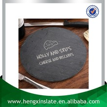 Factory Direct Sales Wholesale Cut Edge Dia24*0.5cm Round Black Slate Cheese Board With Laser Design(Customized)