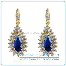 Simple Gold Earring Designs for Women Drop Earring with Blue and White Zircons Prong Setting