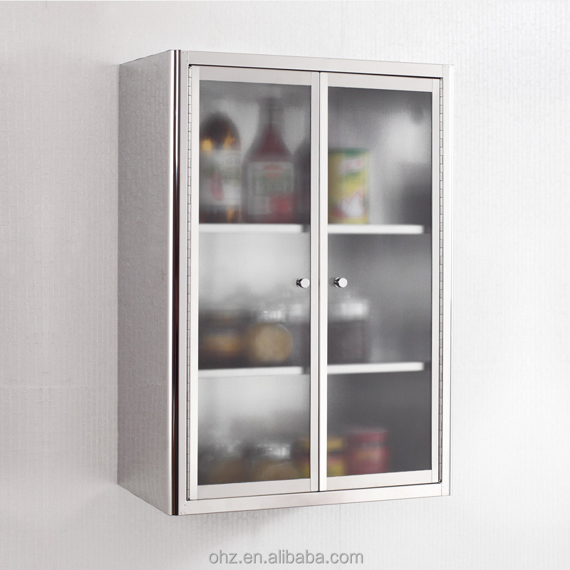 smooth stainless steel kitchen storage cabinet with two glass doors buy kitchen storage
