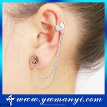Fashion jewelry latest rhodium and gold plating peace symbol ear chain jewelry