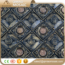 3D Copper Style With Round Glass Mosaic Firebrick Wall Tile