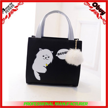 Square handbags with cat printed
