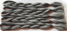 Grey Color Kanekalon Jumbo Braid Synthetic Braiding Hair Bulk Hair For Braiding