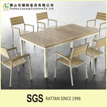 Outdoor wooden dining table and chair design 6 Chairs+1 Table For Restaurant