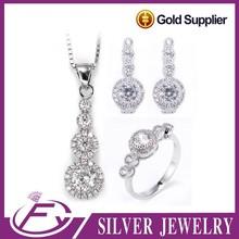 Importación de China zircon blanco plata de ley 925 joyería plateada turca