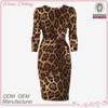 Cheap party/club/evening v-neck sexy slim fit knee length leopard dress with wrap front