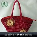 de color rojo brillante bolsos hechos a mano de ganchillo las mujeres bolsa de paja