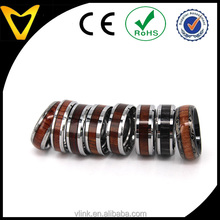 Fashion customized wood wedding ring for he and she trendy top sell natural tungsten wood ring