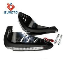 "ZJMOTO Supermoto 7/8"" LED Running Light Dirtbike Motorcycle Hand Guards Handguards Protector 7/8"" Handlebar End Handguard"