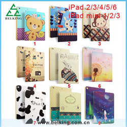 Colour decoration pattern leather case for ipad 2 3 4 5 6 mini, tablet leather case for ipad Air 1/2