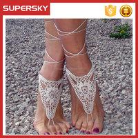 A-537 Boho Crochet Anklet Wedding Footwear Anklet Crochet Barefoot Sandals
