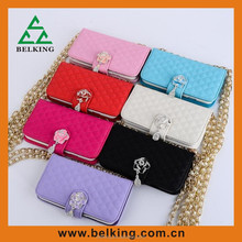 Newest for iphone 5 handbag wallet flip leather case with the flower diamond