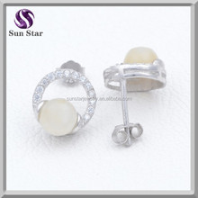 925 sterling silver fashion new model earring with gemstone for party girls