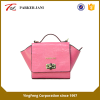 Mature fashion crocodile pattern pu leather tote ladies handbag