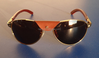 Top quality fashion wood sunglasses ,metal frame with wood temples