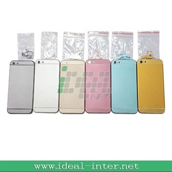 replacement parts For iphone 5 back cover housing with 6G style 6 colors