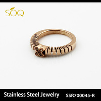 SSR70045-R Women Elegant Rose Gold Plated Bulk Sale Stainless Steel Rings Wholesale Jewelry