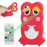 Simple Design 3D Frog Style Silicon Case for iPhone 5C (Red)