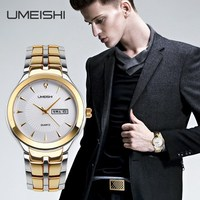 Custom your logo new mens stainless steel quartz gold watch