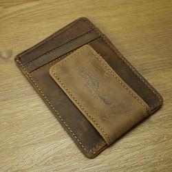 Business professional vintage genuine leather magnet money clip card holder