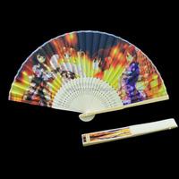 Custom Printed fabric bamboo folding hand fan