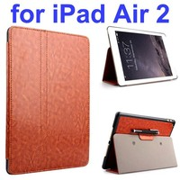 Crazy Horse 2 Folding Stand Flip PU Leather Case for iPad Air 2 with Pen Holder