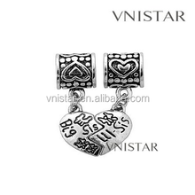 Wholesale Vnistar European split dangle bead, heart pendant, split bead, heart bead, PBD331
