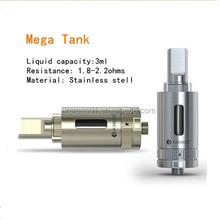 Look!!! Newest disign atomzier single coil clearomizer rebuildable atomizer 3ml mega sub ohm tank for e-cigarette