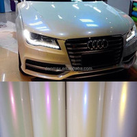 Fashion Shiny Full Car Body Protection Pearl White Color Chameleon Galaxy Vinyl Car Wrap