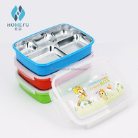 take away stainless steel metal body covered with PP plastic food storage container set