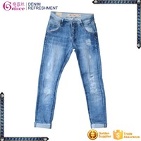 High waist button placket front cutting sexy design fashion women jeans