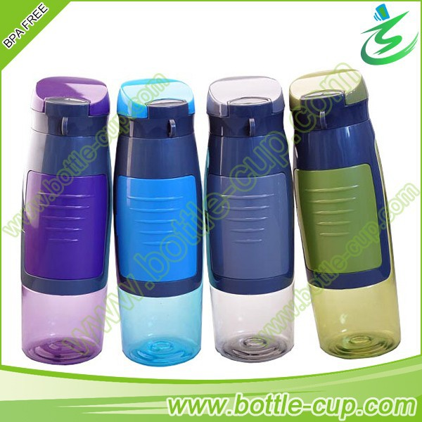 Sports Bottle With Storage Compartment: 750ml Plastic Drink Water Bottle With Storage Compartment