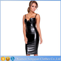 Laest Design Leather Sexy Women Short Cocktail Dresses