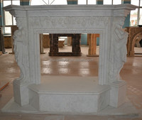 pure white marble fireplace surround