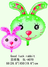 globos de papel de dibujos animados baratos, Buena suerte globo de la hoja de conejo, globo del papel de aluminio